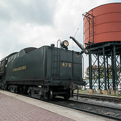 Strasburg, PA, USA - September 30, 2014: The red water tower at the Strasburg Rail Road