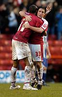 Photo: Leigh Quinnell.<br /> Bristol City v Huddersfield Town. Coca Cola League 1. 10/02/2007. Bristol Citys Kevin Betsy(L) congratulates Lee Johnson on hos goal.