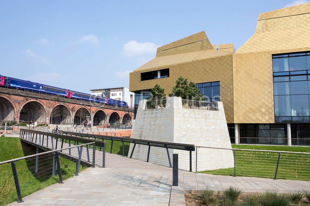 The walkway to the Hive in Worcester, UK. The first fully integrated university and public library in the UK.