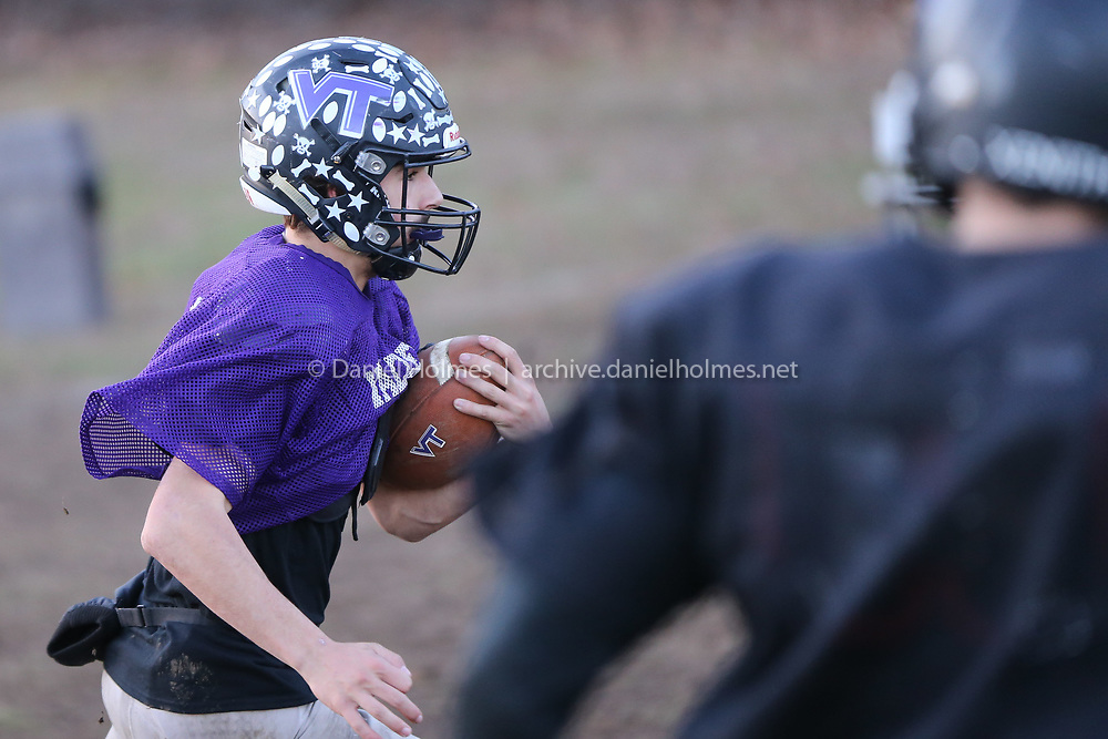 (11/21/19, UPTON, MA) Blackstone Valley Tech's J.D. Antaya runs the ball during practice at Blackstone Valley Tech in Upton on Thursday. [Daily News and Wicked Local Photo/Dan Holmes]