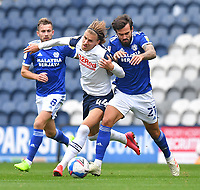Preston North End's Brad Potts battles with Carfiff City's Marlon Pack<br /> <br /> Photographer Dave Howarth/CameraSport<br /> <br /> The EFL Sky Bet Championship - Preston North End v Cardiff City - Sunday 18th October 2020 - Deepdale - Preston<br /> <br /> World Copyright © 2020 CameraSport. All rights reserved. 43 Linden Ave. Countesthorpe. Leicester. England. LE8 5PG - Tel: +44 (0) 116 277 4147 - admin@camerasport.com - www.camerasport.com