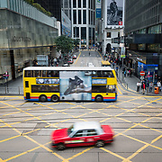 Traffic at a busy intersection in Central district of Hong Kong