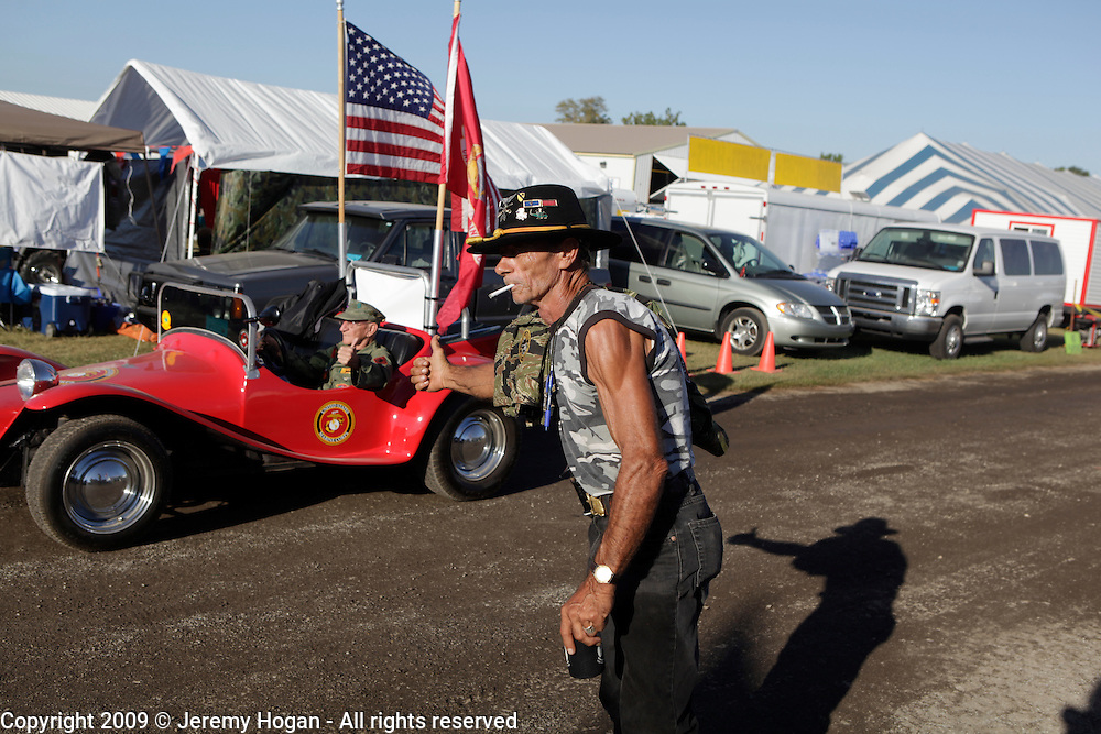 Jerry Hogan, B Troop, 1st Squadron, 9th Cavalry gives the thumbs up. Vietnam Veterans gather in Kokomo, Indiana for the 2009 reunion.