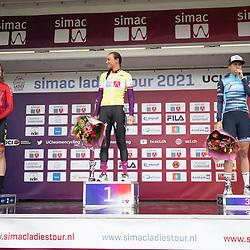 ARNHEM (NED) CYCLING, SIMAC LADIES TOUR,   August 29th 2021, <br /> GC podium Chantal van den Broek-Blaak, Marlen Reusser, Ellen van Dijk