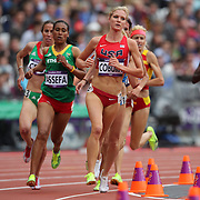 Emma Coburn, USA, in action during round one of the Women's 3000m Steeplechase at the Olympic Stadium at Olympic Park, during the London 2012 Olympic games. London, UK. 4th August 2012. Photo Tim Clayton