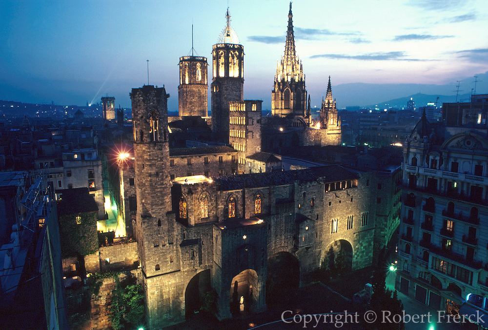 SPAIN, BARCELONA Barri Gotic; spires of Cathedral