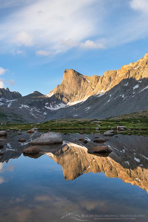 Pronghorn Peak reflected in pond near Lee Lake, Bridger Wilderness. Wind River Range, Wyoming