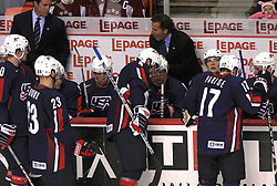 U.S. Team and coach John Tortorella at ice-hockey match Finland vs USA at Qualifying round Group F of IIHF WC 2008 in Halifax, on May 11, 2008 in Metro Center, Halifax, Nova Scotia, Canada. (Photo by Vid Ponikvar / Sportal Images)