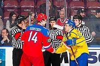 KELOWNA, BC - DECEMBER 18: Vitalii Kravtsov #14 of Team Russia skates hands with Erik Brännström #12 of Team Sweden  at Prospera Place on December 18, 2018 in Kelowna, Canada. (Photo by Marissa Baecker/Getty Images)***Local Caption***