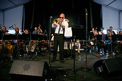 28 April 2012. New Orleans, Louisiana,  USA. .New Orleans Jazz and Heritage Festival. .Irvin Mayfield, legendary Emmy award winning jazz trumpeter and band leader..Photo; Charlie Varley.
