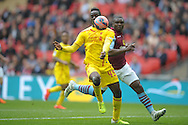 Mario Balotelli of Liverpool controls the ball. The FA Cup, semi final match, Aston Villa v Liverpool at Wembley Stadium in London on Sunday 19th April 2015.<br /> pic by John Patrick Fletcher, Andrew Orchard sports photography.
