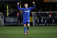 AFC Wimbledon midfielder Dylan Connolly (16) celebrating after win during the EFL Sky Bet League 1 match between AFC Wimbledon and Peterborough United at the Cherry Red Records Stadium, Kingston, England on 12 March 2019.
