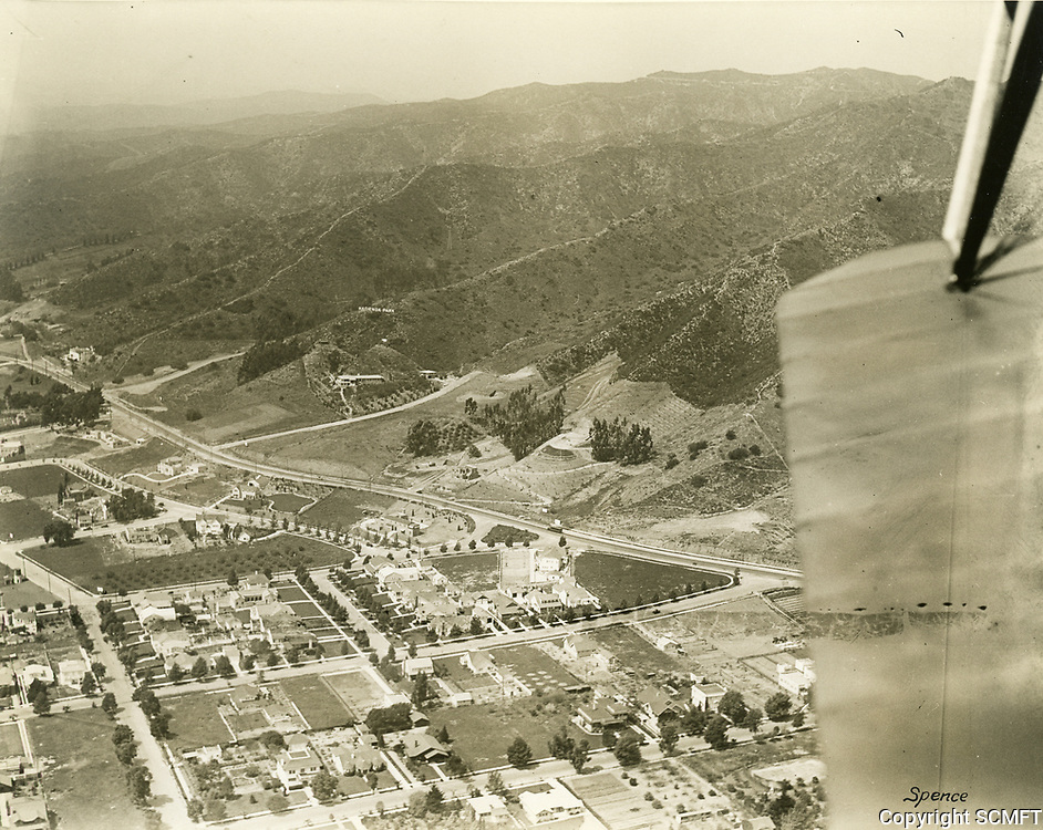 1921 Aerial view of Sunset Blvd., near Kings Rd., in West Hollywood