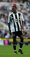 Photo: Andrew Unwin.<br />Newcastle United v Manchester City. The Barclays Premiership. 24/09/2005.<br />Newcastle's Charles N'Zogbia feels the pain after another tough challenge.
