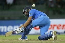 March 14, 2018 - Colombo, Sri Lanka - Indian cricket captain Rohit Sharma plays a shot during the 5th Twenty-20 cricket match of NIDAHAS Trophy between Bangladesh and India at R Premadasa cricket ground, Colombo, Sri Lanka on Wednesday 14 March 2018. (Credit Image: © Tharaka Basnayaka/NurPhoto via ZUMA Press)