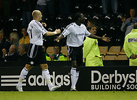 Photo: Steve Bond.<br />Derby County v Blackpool. Carling Cup. 28/08/2007. Mo camera celebrates the opening goal