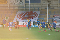 Rugby League - 2020 Super League - Round 13 - Warrington Wolves vs Catalan Dragon<br /> <br /> Warrington Wolves's Anthony Gelling raises a hand while others kneel at the start of the game,   at the Halliwell Jones Stadium, Warrington<br /> <br /> <br /> COLORSPORT/TERRY DONNELLY