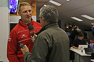 Gloucester head coach Johann Ackermann being interviewed after the 61-16 victory during the European Rugby Challenge Cup match between Gloucester Rugby and SU Agen at the Kingsholm Stadium, Gloucester, United Kingdom on 19 October 2017. Photo by Gary Learmonth.