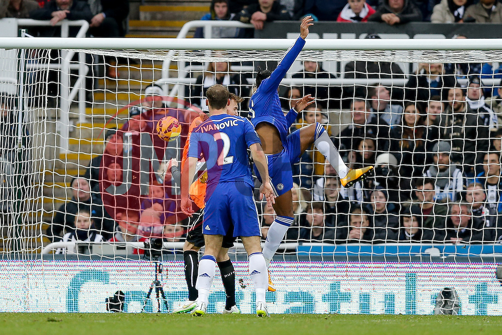 Didier Drogba of Chelsea heads the ball to score a goal past Goalkeeper Jak Alnwick of Newcastle United, in his first Premier League appearance - Photo mandatory by-line: Rogan Thomson/JMP - 07966 386802 -06/12/2014 - SPORT - FOOTBALL - Newcastle, England - St James' Park - Newcastle United v Chelsea - Barclays Premier League.