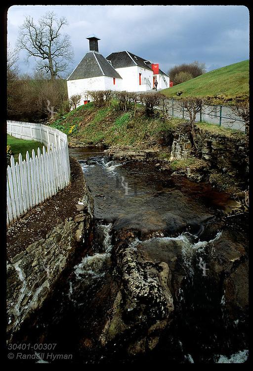 Brook flows thru Edradour, Scotland's smallest distillery, where waters make whisky; Pitlochry. Scotland