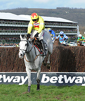 National Hunt Horse Racing - 2020 Cheltenham Festival - Wednesday, Day Two (Ladies Day)<br /> <br /> Winner, Harry Skelton on Politologue  jumps the last fence in the 15.30 Betway Queen Mother Champion Steeple chase (Grade 1), at Cheltenham Racecourse.