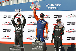 July 15, 2018 - Toronto, Ontario, Canada - SCOTT DIXON (9) of New Zealand, SIMON PAGENAUD (22) of France, and ROBERT WICKENS (6) of Canada celebrate after finishing on the podium for the Honda Indy Toronto at Streets of Toronto in Toronto, Ontario. (Credit Image: © Justin R. Noe Asp Inc/ASP via ZUMA Wire)