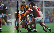 Kilkenny's John Power is tackled by Galway's Gerry McInerney in the 1993 final.