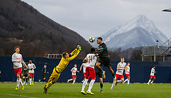 GRÖDIG, AUSTRIA - Tuesday, December 10, 2019: Liverpool's Elijah Dixon-Bonner is fouled by FC Salzburg's Wallison Nunes Silva (#24) for a penalty during the final UEFA Youth League Group E match between FC Salzburg and Liverpool FC at the Untersberg-Arena. (Pic by David Rawcliffe/Propaganda)