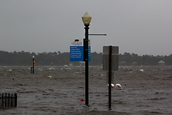 September 13, 2018 - New Bern, NC, USA - Major flooding is seen nearly sixteen hours before the landfall of Hurricane Florence, as early storm surges caused the Neuse River to rise above its' banks and into downtown New Bern, NC. (Credit Image: © Michael Candelori/ZUMA Wire)