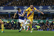 Seamus Coleman of Everton shoots high of goal under pressure from Damien Delaney of Crystal Palace. Premier league match, Everton v Crystal Palace at Goodison Park in Liverpool, Merseyside on Friday 30th September 2016.<br /> pic by Chris Stading, Andrew Orchard sports photography.