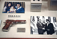 """The Elvis and Nixon exhigit in the Nixon Library.  <br />When Presley had showed up that morning at the White House — decked out in a purple velvet suit, a gold belt and a Colt. 45 pistol  on December 21, 1970. the guards at the North West gate didn't know what to do..  They  gave the letter to """"Bud"""" Krogh Jr. a Nixon advisor and later that day Elvis met Nixon.<br /><br /><br />Photograph by Dennos Brack  bb77"""
