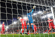 Laura O'Sullivan (1) of Wales punches the ball away during the FIFA Women's World Cup UEFA Qualifier match between England Ladies and Wales Women at the St Mary's Stadium, Southampton, England on 6 April 2018. Picture by Graham Hunt.