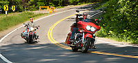 Clear skies and a smooth ride on newly paved Watson Road for motorcyclists touring around the region Wednesday afternoon.  (Karen Bobotas/for the Laconia Daily Sun)