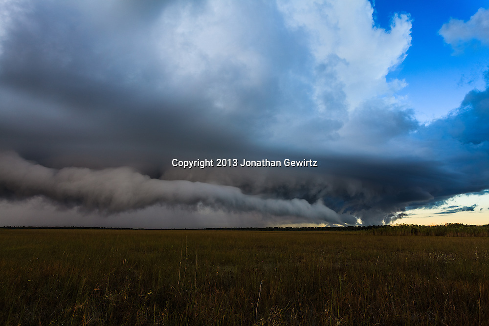 Low clouds on the gust front of a morning rain storm move over the sawgrass prairie in Everglades National Park, Florida. WATERMARKS WILL NOT APPEAR ON PRINTS OR LICENSED IMAGES.