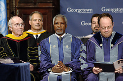 File Photo - United Nations Secretary General Kofi Annan receives a sash as he is confered the Doctor of Humane Letters degree from Georgetown University Provost James O'Donnell (L) and university President John DeGioia (R) at Georgetown University in Washington, DC, USA, on October 31, 2006. Kofi Annan, the former UN secretary-general who won the Nobel Peace Prize for humanitarian work, has died aged 80, his aides say. Photo by Olivier Douliery/ABACAPRESS.COM