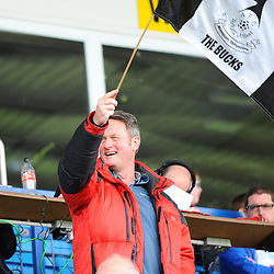 TELFORD COPYRIGHT MIKE SHERIDAN Telford fans during the National League North fixture between AFC Telford United and York City at the New Bucks Head on Saturday, October 12, 2019.<br /> <br /> Picture credit: Mike Sheridan<br /> <br /> MS201920-025