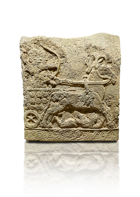 Hittite relief sculpted orthostat stone panel of Long Wall Basalt, Karkamıs, (Kargamıs), Carchemish (Karkemish), 900 - 700 BC. Anatolian Civilizations Museum, Ankara, Turkey.<br /> <br /> Chariot. One of the two figures in the chariot holds the horse's headstall while the other throws arrows. There is a naked enemy with an arrow in his hip lying face down under the horse's feet. It is thought that this figure is depicted smaller than the other figures since it is an enemy soldier. The tower part of the orthostat is decorated with braiding motifs.<br /> <br /> On a White Background. .<br />  <br /> If you prefer to buy from our ALAMY STOCK LIBRARY page at https://www.alamy.com/portfolio/paul-williams-funkystock/hittite-art-antiquities.html  - Type  Karkamıs in LOWER SEARCH WITHIN GALLERY box. Refine search by adding background colour, place, museum etc.<br /> <br /> Visit our HITTITE PHOTO COLLECTIONS for more photos to download or buy as wall art prints https://funkystock.photoshelter.com/gallery-collection/The-Hittites-Art-Artefacts-Antiquities-Historic-Sites-Pictures-Images-of/C0000NUBSMhSc3Oo