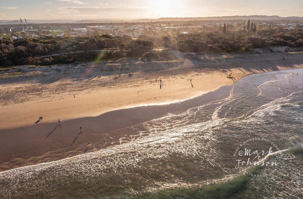 Bokarina Beach, Australia-14 August 2021: Aerial view of of Bokarina Beach, Sunshine Coast, Queensland, Australia