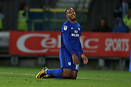 Kenneth Zohore of Cardiff city looks on. EFL Skybet championship match, Cardiff city v Sheffield Utd at the Cardiff City Stadium in Cardiff, South Wales on Tuesday 15th August 2017.<br /> pic by Andrew Orchard, Andrew Orchard sports photography.