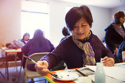 Senior Asian Woman Doing Painting Activity