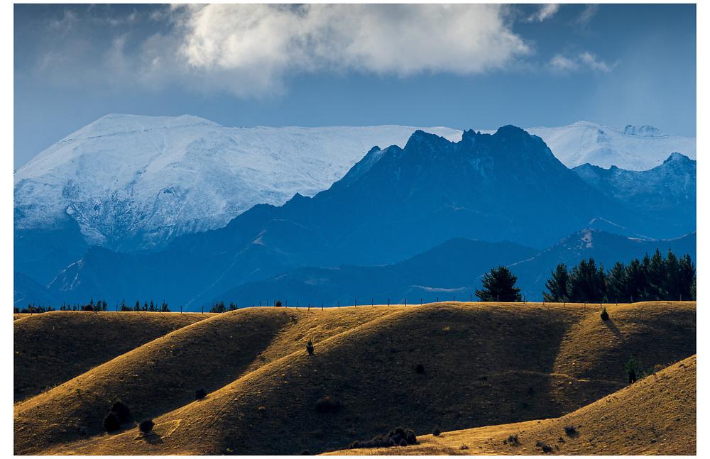Minaret Peaks from the Upper Clutha River Track. Wanaka, Otago.