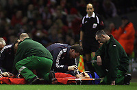 Photo: Paul Thomas.<br /> Liverpool v Arsenal. Carling Cup. 09/01/2007.<br /> <br /> Mark Gonzalez of Liverpool recieves oxygen before being carried off.