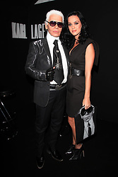 Designer Karl Lafgerfeld and Katy Perry attending the Karl Lagerfeld's Spring-Summer 2010 ready-to-wear collection show in Paris, France on October 4, 2009. Photo by Denis Guignebourg/ABACAPRESS.COM