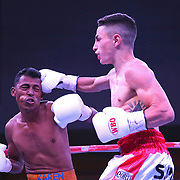 Agustin Gauto of Argentina (R) punches Jose Antonio Jiminez of Columbia during their championship boxing match for the WBO Latin American light flyweight title at the Hotel El Panama Convention Center on Wednesday, October 31, 2018 in Panama City, Panama. (Alex Menendez via AP)