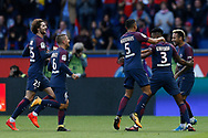 Paris Saint Germain's Brazilian forward Neymar Jr celebrates after scoring during the French Championship Ligue 1 football match between Paris Saint-Germain and Girondins de Bordeaux on September 30, 2017 at the Parc des Princes stadium in Paris, France - Photo Benjamin Cremel / ProSportsImages / DPPI