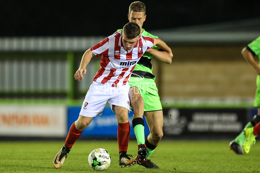 Cheltenham Towns Aaron Basford (57)  during the FA Youth Cup match between U18 Forest Green Rovers and U18 Cheltenham Town at the New Lawn, Forest Green, United Kingdom on 29 October 2018.