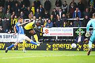 Burton Albion's Marvin Sordell fires in a shot during the EFL Sky Bet Championship match between Burton Albion and Ipswich Town at the Pirelli Stadium, Burton upon Trent, England on 28 October 2017. Photo by John Potts.