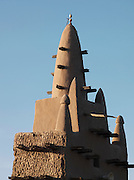 A spire of the Great Mosque of Djenné, the worlds largest mud built structure and UNESCO heritage site, at Djenné, Mali