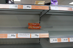 Empty Shelves in a co-operative store during the Corona Virus Pandemic<br /> <br /> <br /> <br /> Ben Booth | 20/03/2020