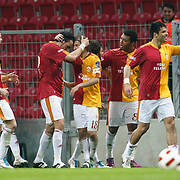 Galatasaray's Servet CETIN (3ndL) celebrate his goal with team mate during their Turkish Super League soccer match Galatasaray between Kasimpasaspor at the TT Arena at Seyrantepe in Istanbul Turkey on Monday 09 May 2011. Photo by TURKPIX